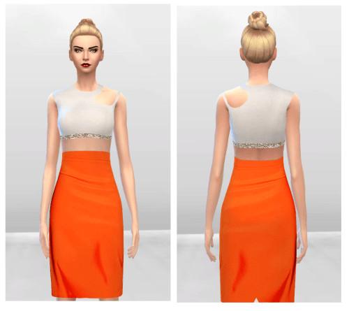 Sims 4 Cut out Bondage Orange Dress at McKenzie Layne