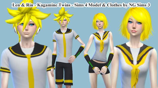 Sims 4 Kagamine Twins Models & Clothes at NG Sims3