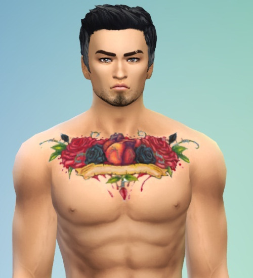 Rose chest tattoo for males at McKenzie Layne image 1081 Sims 4 Updates