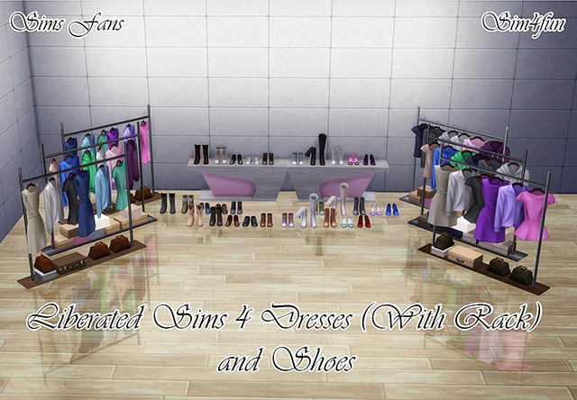 Sims 4 Liberated Sims 4 Dresses and Shoes by Sim4fun at Sims Fans