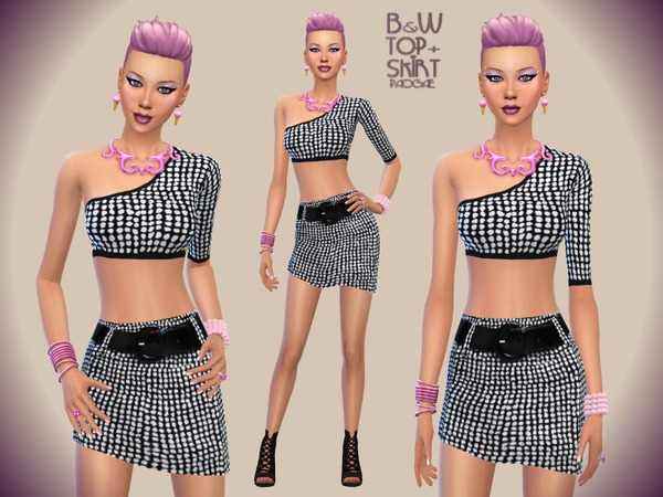 Sims 4 B&W Top + Skirt by Paogae at TSR