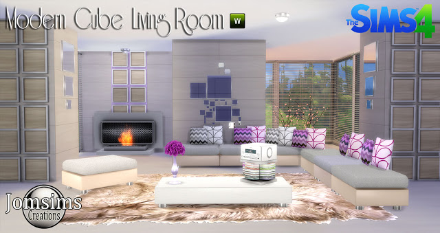 Modern cube livingroom at jomsims creations sims 4 updates for Modern living room sims 4