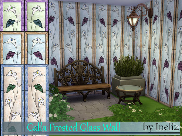 Sims 4 Calla Frosted Glass Wall by Ineliz at TSR