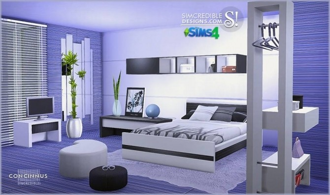 Concinnus bedroom at simcredible designs 4 sims 4 updates for Bedroom designs sims 4