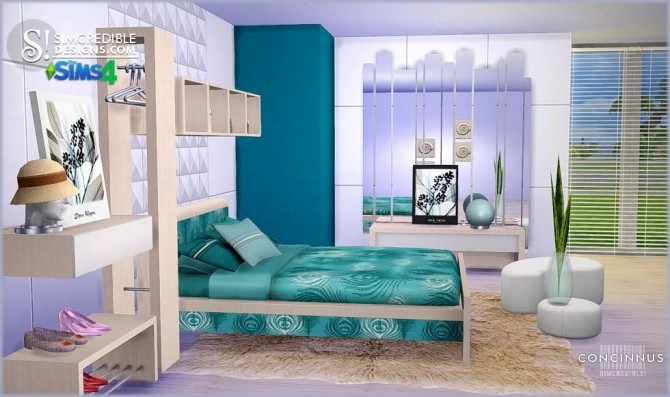 Concinnus bedroom at SIMcredible! Designs 4 image 1162 670x397 Sims 4 Updates