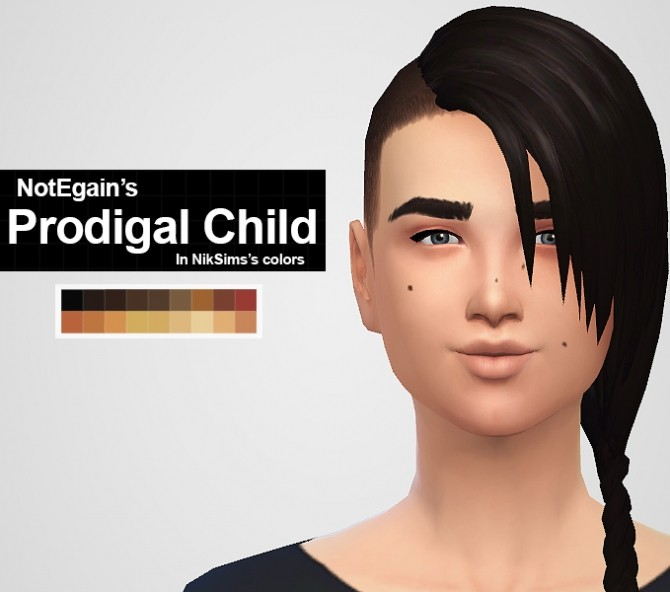 Sims 4 NOTEGAIN′S PRODIGAL CHILD HAIRS IN NIKSIMS'S COLORS at MintyOwls