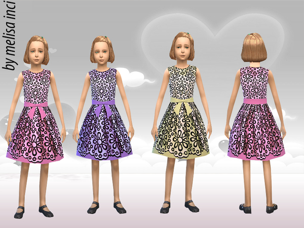Girl Floral Lace Dress by melisa inci at TSR image 1166 Sims 4 Updates