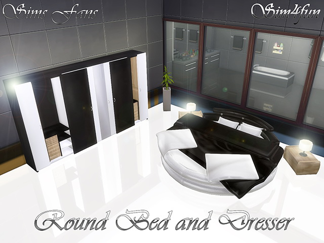 Round Bed And Dresser By Sim4fun At Sims Fans 187 Sims 4 Updates