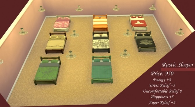 Sims 4 Rustic Sleeper Modified and Recoloured by Simmiller at Mod The Sims