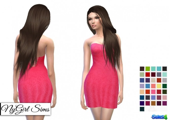 Sims 4 Strapless Lace Cocktail Dress at NyGirl Sims