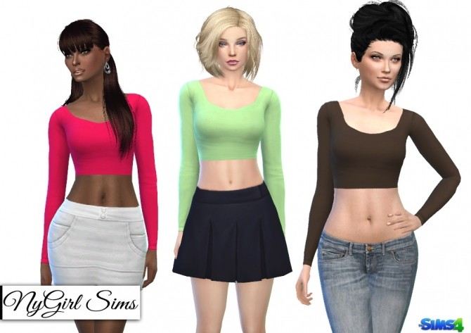 Sims 4 Fitted Scoop Neck Long Sleeve Crop Top at NyGirl Sims