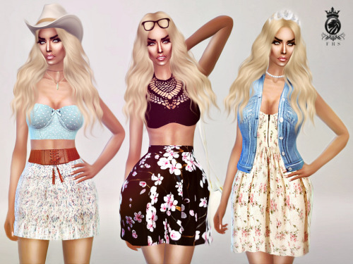 Sims 4 Summer dress, denim top, crochet top & two skirts at Fashion Royalty Sims
