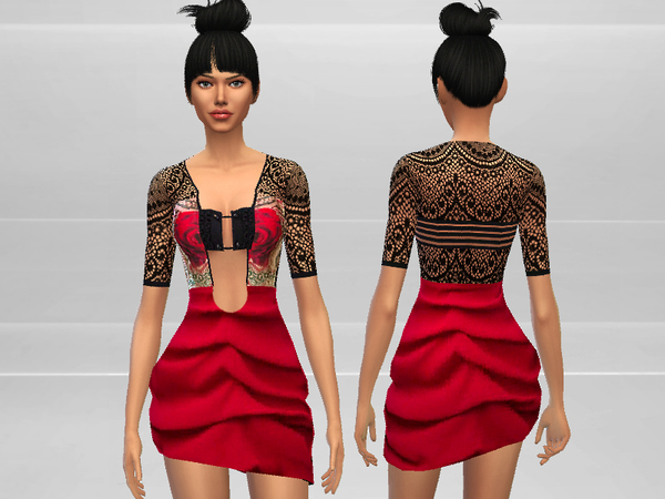 Sims 4 Rose Dress by Puresim at TSR