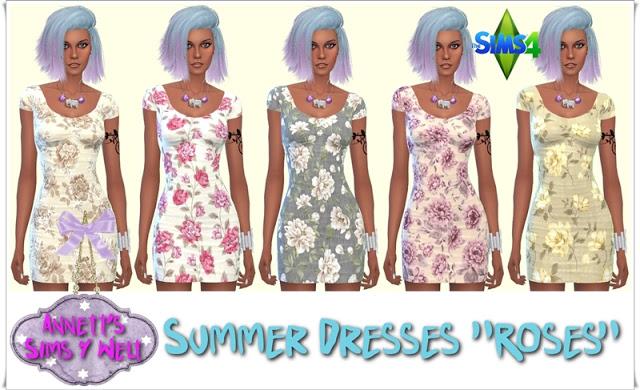 Sims 4 Roses Summer Dresses at Annett's Sims 4 Welt