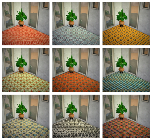 Sims 4 16 colorful floor tiles at Budgie2budgie