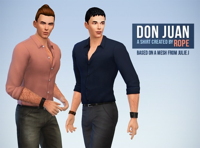 Sims 4 Don Juan tucked shirt by Rope at Simsontherope