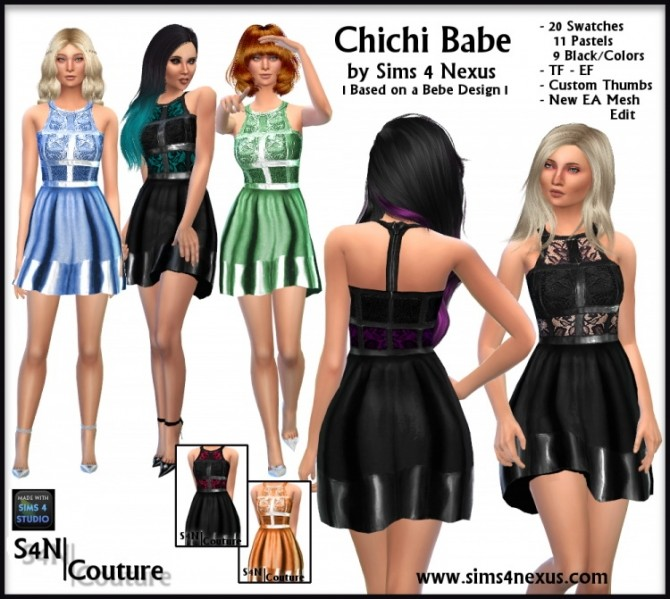 Sims 4 Chichi Babe outfit by SamanthaGump at Sims 4 Nexus