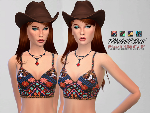 Sims 4 Bohemian Top by tangerine at Sims Fans