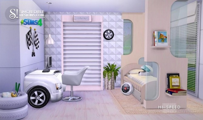 Hi speed kids bedroom at simcredible designs 4 sims 4 for Bedroom designs sims 4