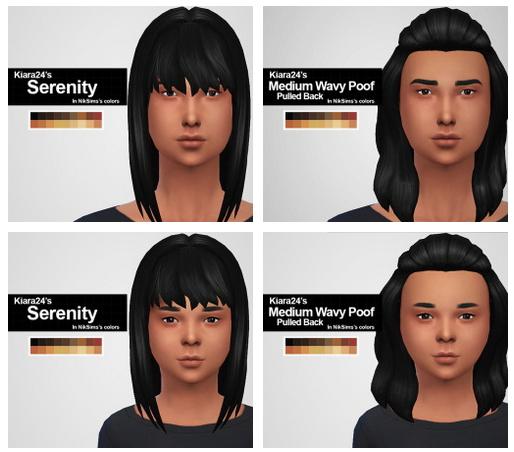 Sims 4 KIARA24′S SERENITY & MED WAVY POOF HAIR retextures at MintyOwls