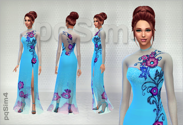 Long dress with flowers by Mary Jimenez at pqSims4 image 15713 Sims 4 Updates