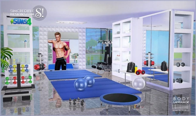 Body language themed gym room at simcredible designs