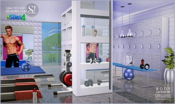Sims 4 Body Language themed gym room at SIMcredible! Designs 4