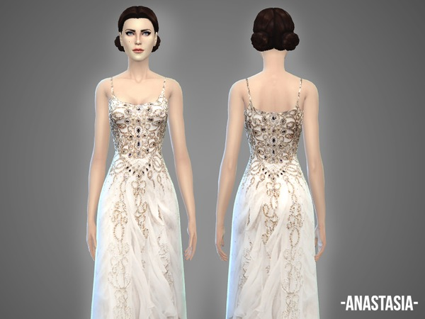 Sims 4 Anastasia wedding gown by April at TSR