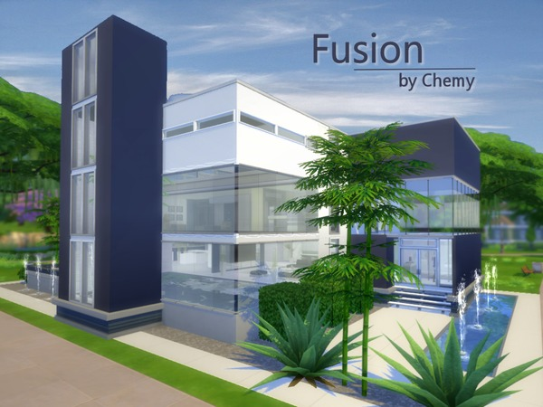 Fusion house by chemy at tsr sims 4 updates for Simple modern house sims 4