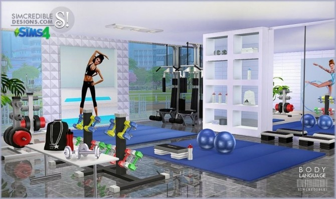 Body language themed gym room at simcredible designs 4 for Room decor sims 4