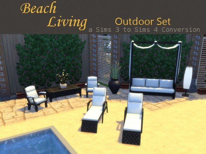 beach living outdoor set at leander belgraves sims 4 updates. Black Bedroom Furniture Sets. Home Design Ideas