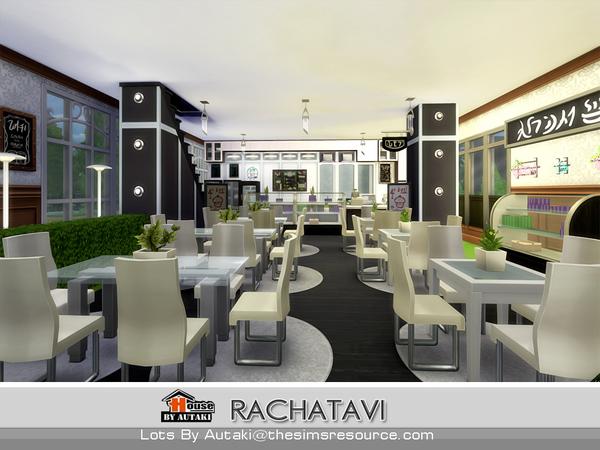 Sims 4 Rachatavi food shop by autaki at TSR