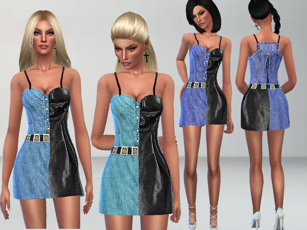 Sims 4 Leather and Denim Dress by Puresim at TSR