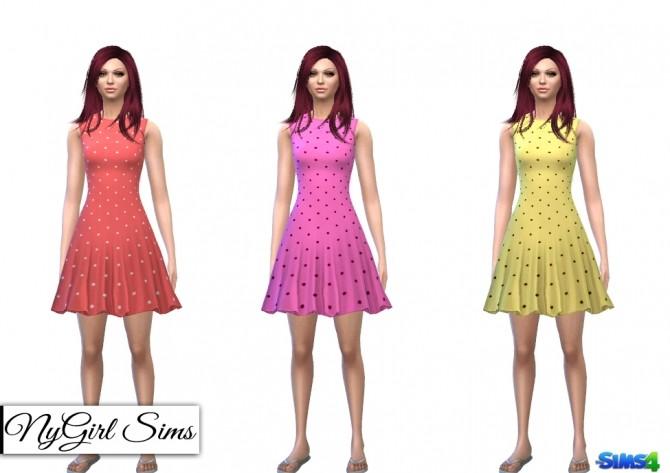 Sims 4 Polka Dot Flare Dress at NyGirl Sims