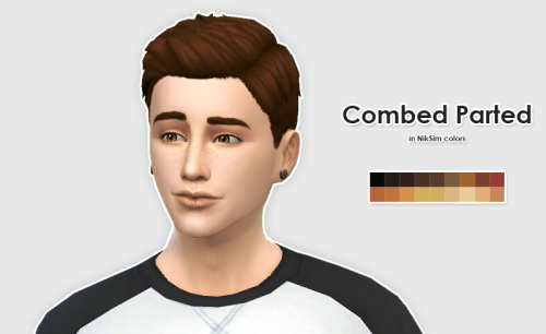 Sims 4 LumiaLoverSims Combed Parted Hair in NikSim Colors at ELLESMEA