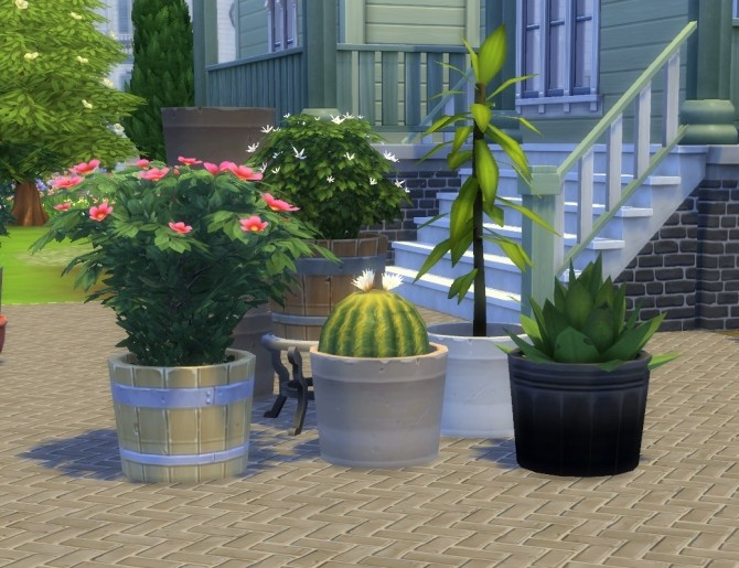 Sims 4 Modular Flower Shrubs + Pot by plasticbox at Mod The Sims