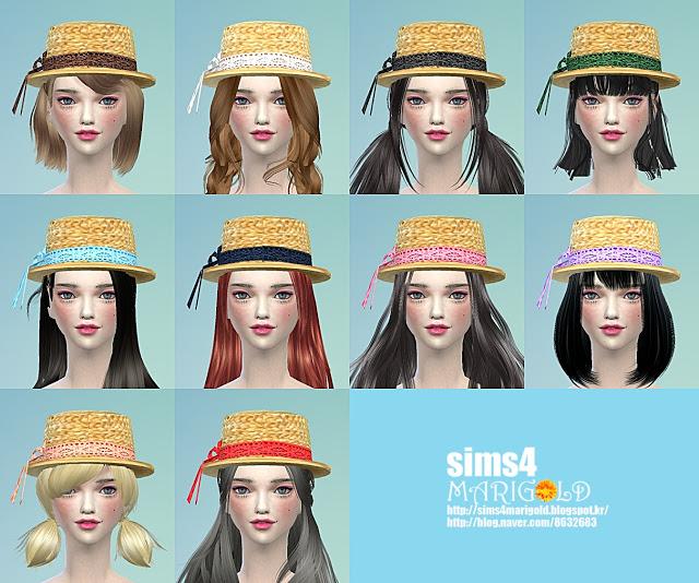 Lace ribbon straw hat at Marigold image 1763 Sims 4 Updates