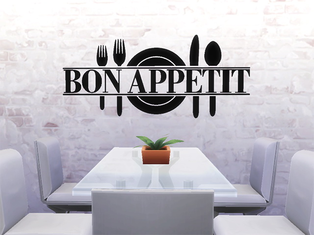 Bon Appetit Wall Sticker by Melinda at Sims Fans image 17916 Sims 4 Updates