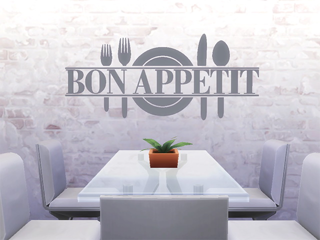 Bon Appetit Wall Sticker by Melinda at Sims Fans image 18017 Sims 4 Updates