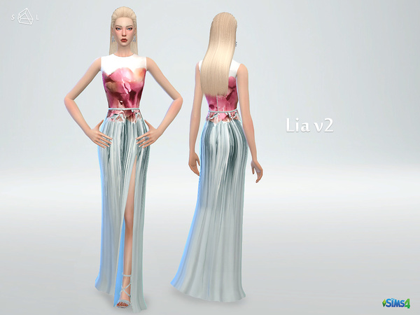 Floral printed sleeveless gown LIA v2 by starlord at TSR image 1809 Sims 4 Updates