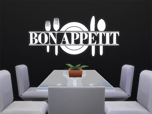 Bon Appetit Wall Sticker by Melinda at Sims Fans image 18120 Sims 4 Updates