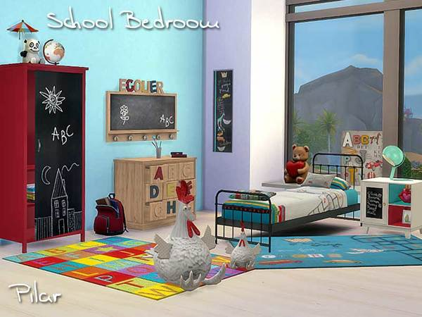 School bedroom by pilar at simcontrol sims 4 updates Bedroom furniture for college students