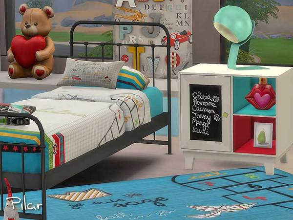 Sims 4 School Bedroom by Pilar at SimControl