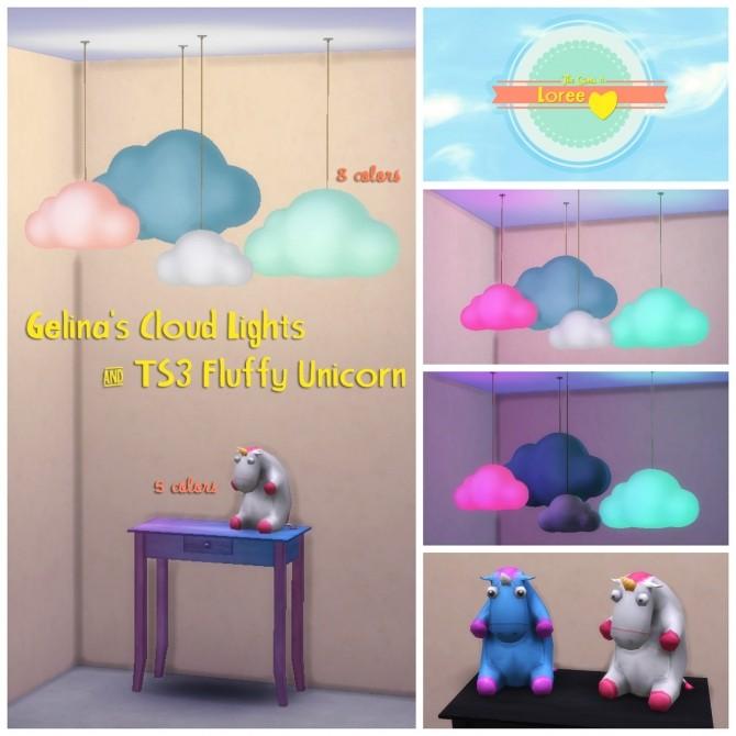 Sims 4 Gelina's cloud lights & fluffy unicorn at Loree
