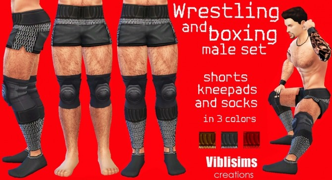 Wrestling And Boxing Shorts Kneepads And Socks By