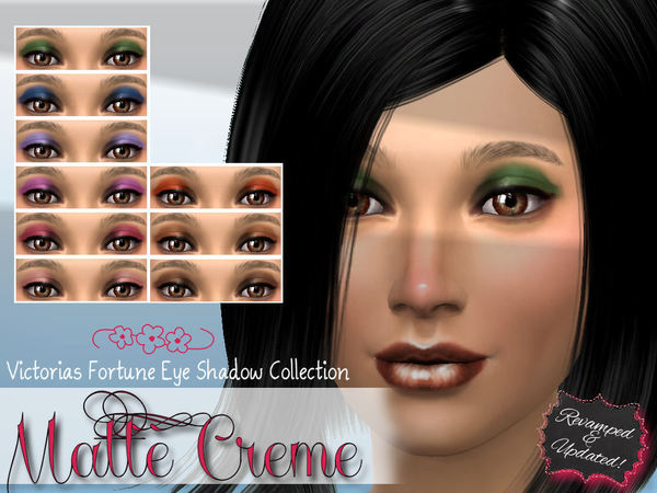 Victorias Fortune Matte Creme Eye Shadow Collection at TSR image 20101 Sims 4 Updates