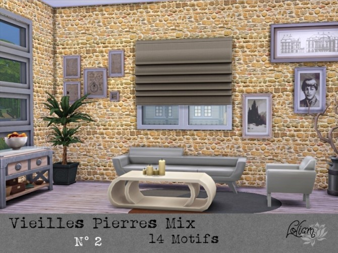 OLD STONE MIX walls by loliam at Sims Artists image 2018 670x503 Sims 4 Updates