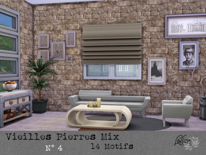 OLD STONE MIX walls by loliam at Sims Artists image 2033 670x503 Sims 4 Updates