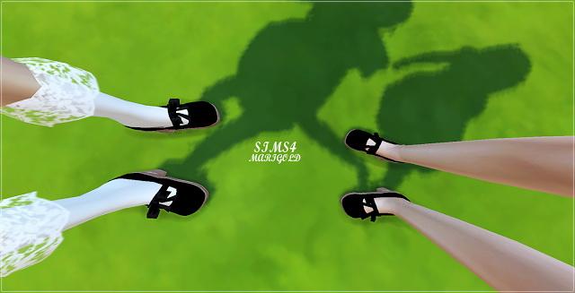 Sims 4 Child version ribbon mary jane shoes at Marigold