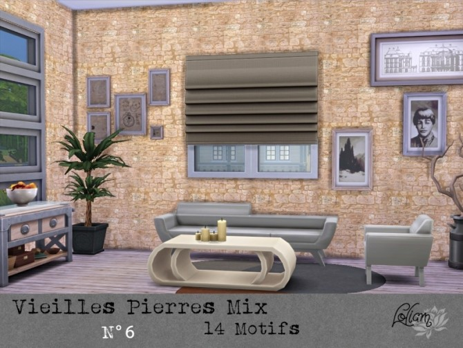 OLD STONE MIX walls by loliam at Sims Artists image 2053 670x503 Sims 4 Updates
